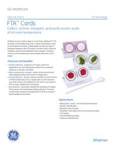 FTA™ Cards - GE Healthcare Life Sciences