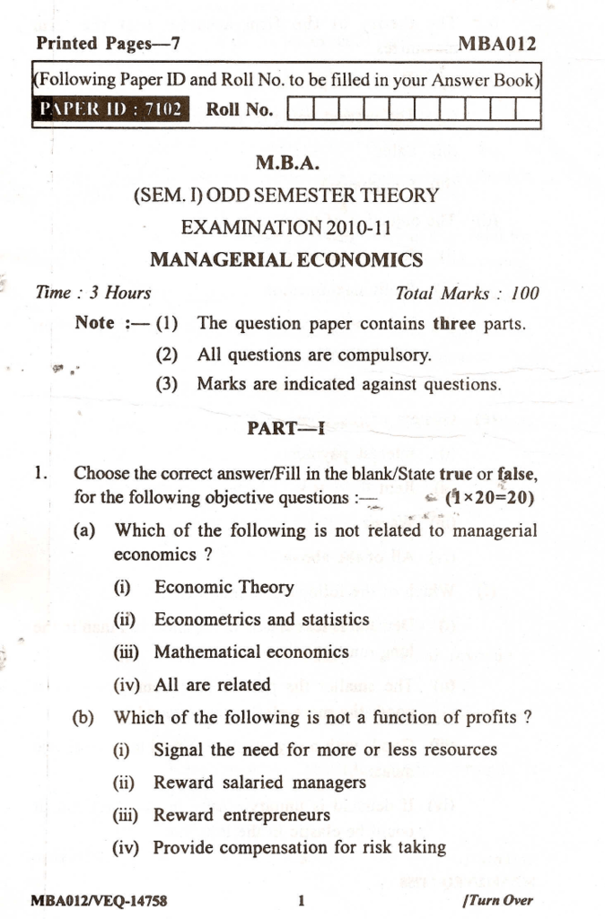 MBA-012 Managerial Economics