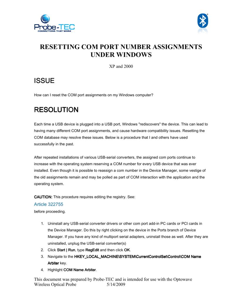 Resetting COM PORT NUMBER ASSIGNMENTS - Probe-TEC