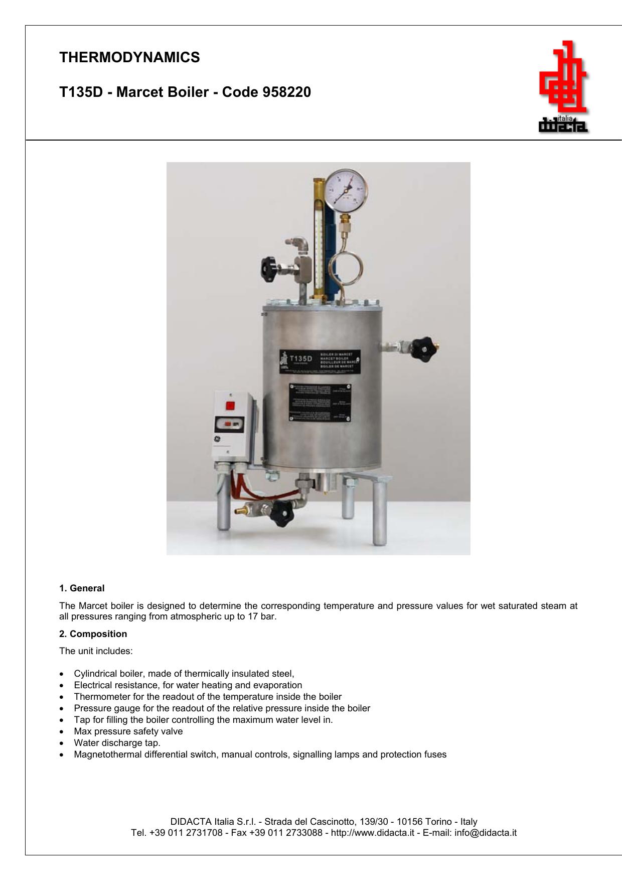 THERMODYNAMICS T135D - Marcet Boiler