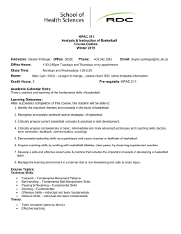 KPAC 311 Analysis & Instruction of Basketball Course Outline