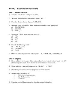 SCH4U – Exam Review Questions - Glebe