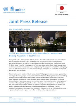 Joint Press Release: Japan and UNITAR launch a USD 380000