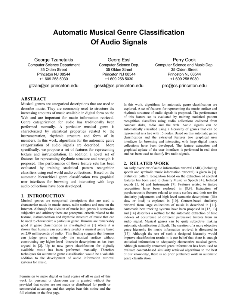 Automatic Musical Genre Classification Of Audio Signals