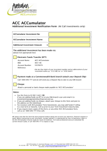 Additional Investment Notification Form
