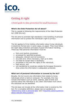 Getting it right: a brief guide to data protection for small businesses