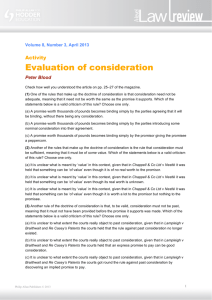 Evaluation of consideration