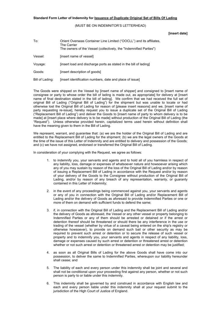 standard form letter of indemnity  Standard Form Letter of Indemnity for Issuance of Duplicate ...