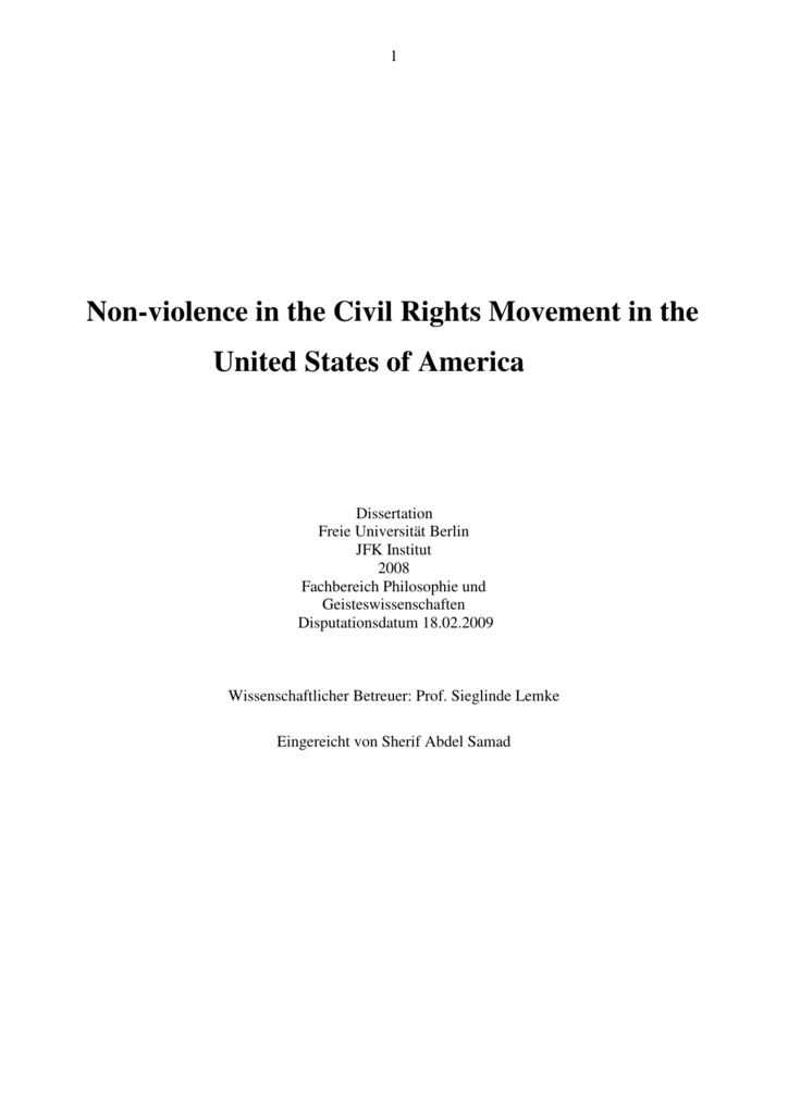 Non Violence In The Civil Rights Movement In The United States Of