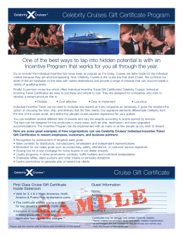 Celebrity Cruises Gift Certificate Program Cruise