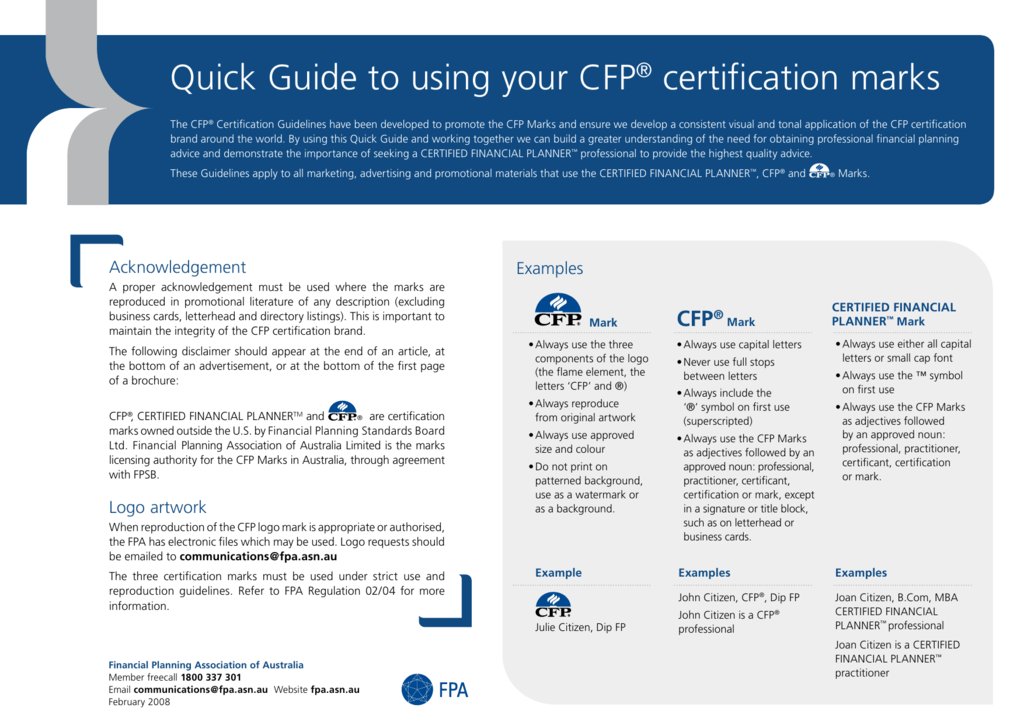 Fpa Quick Guide To Use Cfp Cert Marks
