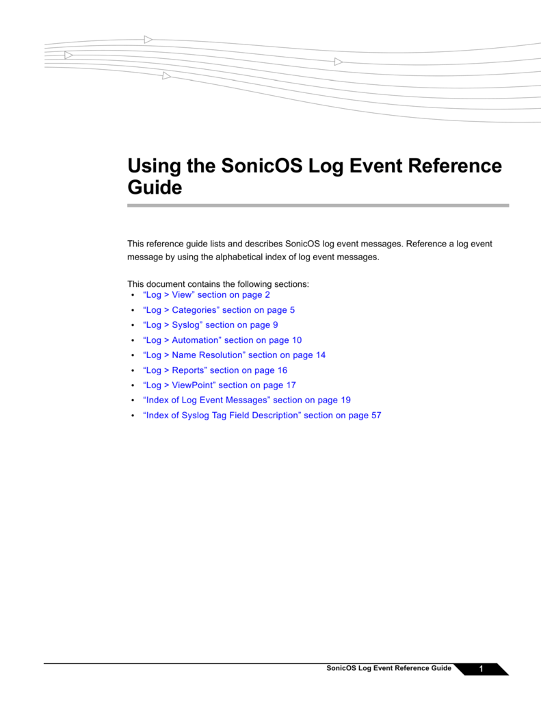 Using the SonicOS Log Event Reference Guide
