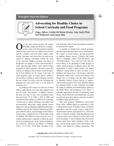 Thoughts from the Editors: Advocating for Healthy Choice in School