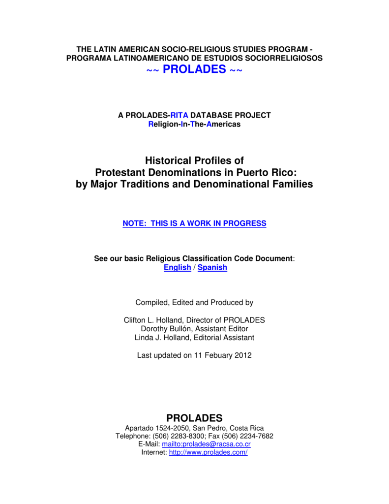 Historical Profiles of Protestant Denominations in Puerto Rico