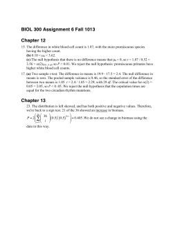 BIOL 300 Assignment 6 Fall 1013 Chapter 12 Chapter 13 ( ) ( )