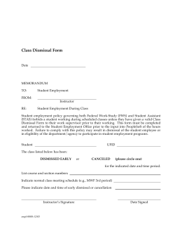 Late Arrival/Early Dismissal Form