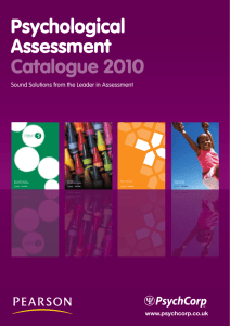 Psychological Assessment Catalogue 2010