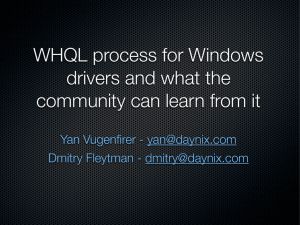 WHQL process for Windows drivers and what the community