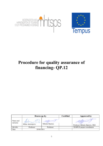 Procedure for quality assurance of financing