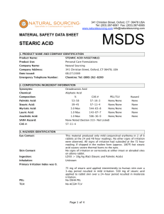 (MSDS) Stearic Acid - Natural Sourcing, LLC