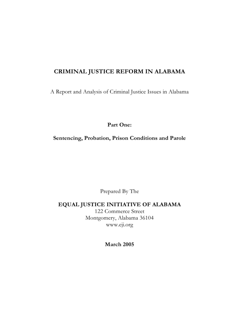 CRIMINAL JUSTICE REFORM IN ALABAMA