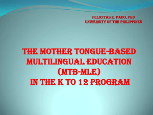 (MTB-MLE) in the k to 12 program