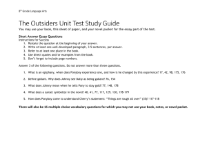 The Outsiders Unit Test Study Guide