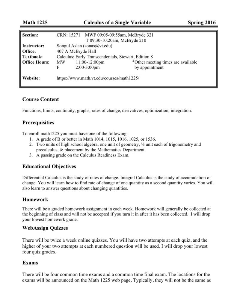 Math 1225 (15271) - Math Department