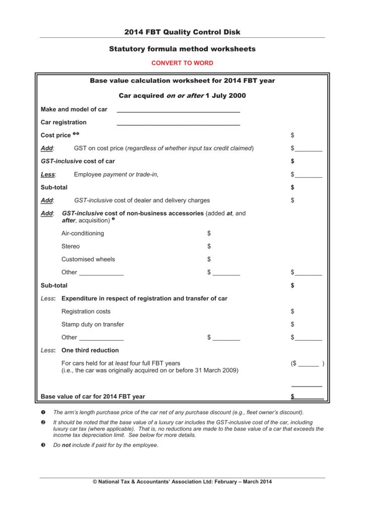 2014 FBT Quality Control Disk Statutory formula method ...