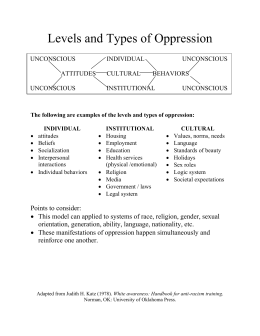 Levels and Types of Oppression