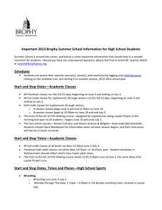 Important 2013 Brophy Summer School Information for High School