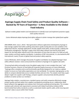 Aspirago Supply Chain Food Safety and Product Quality Software