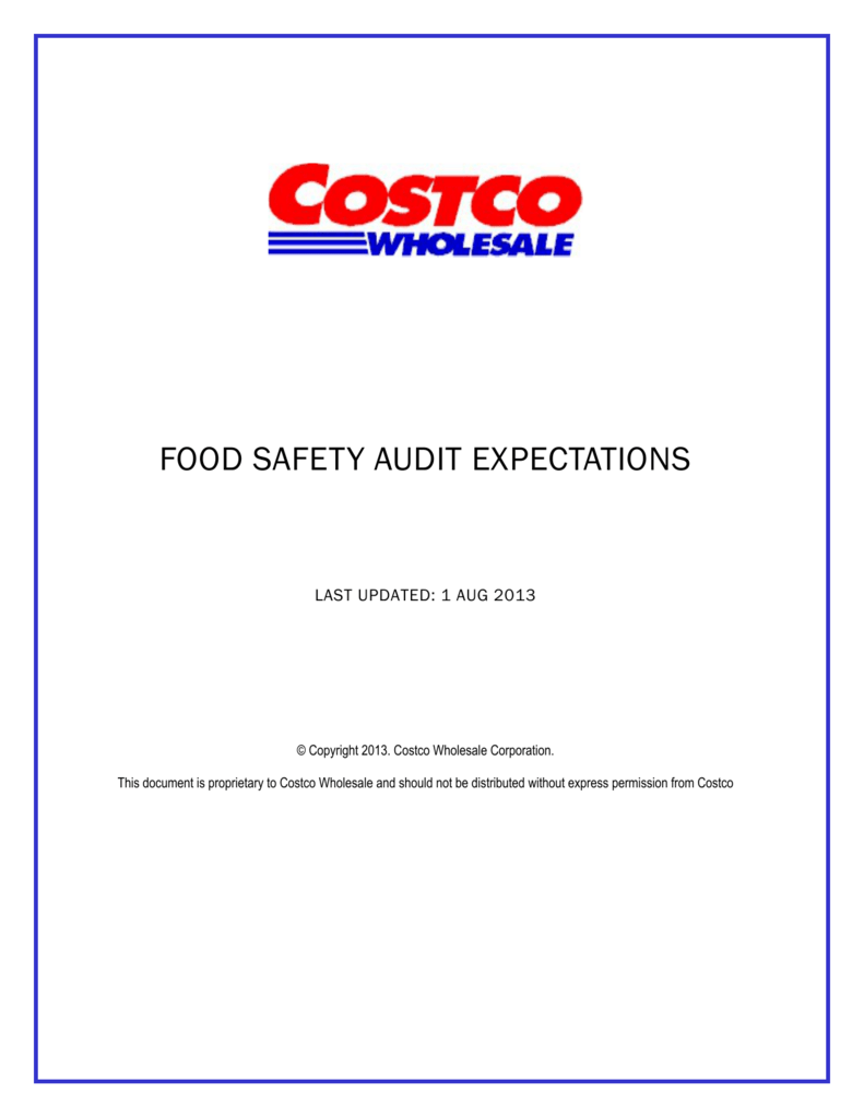 food safety audit expectations