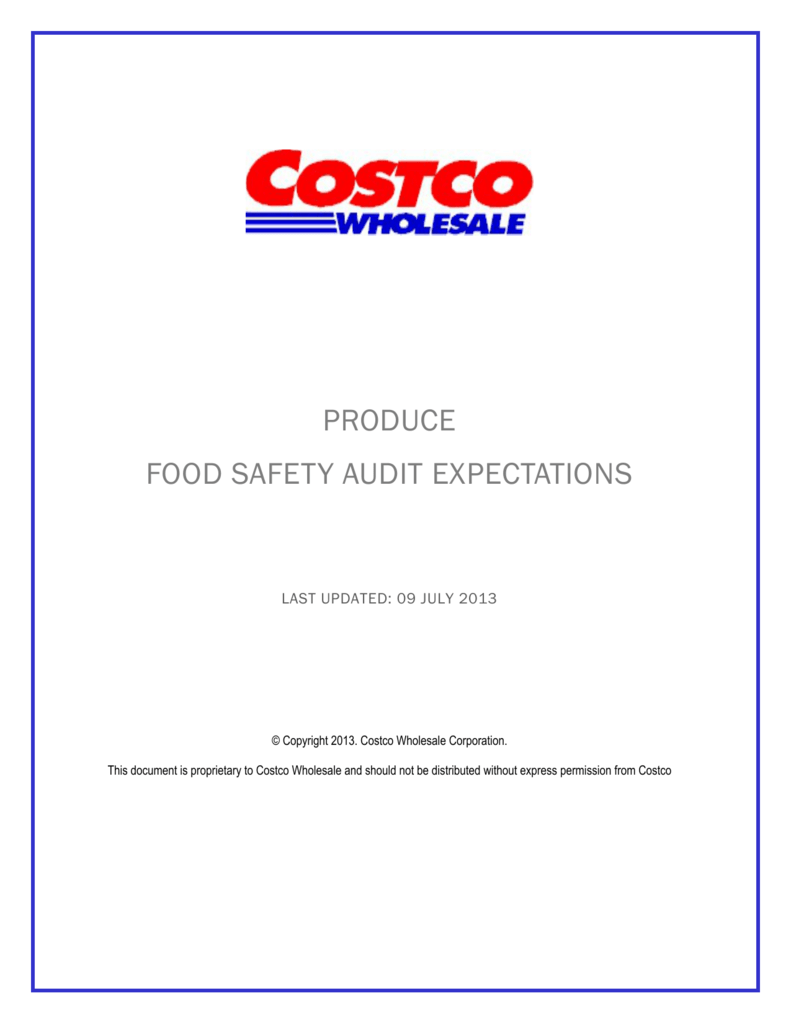 Costco Produce Food Safety Audit Expectations