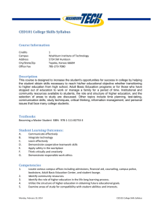 CED101 College Skills Syllabus - Washburn Institute of Technology