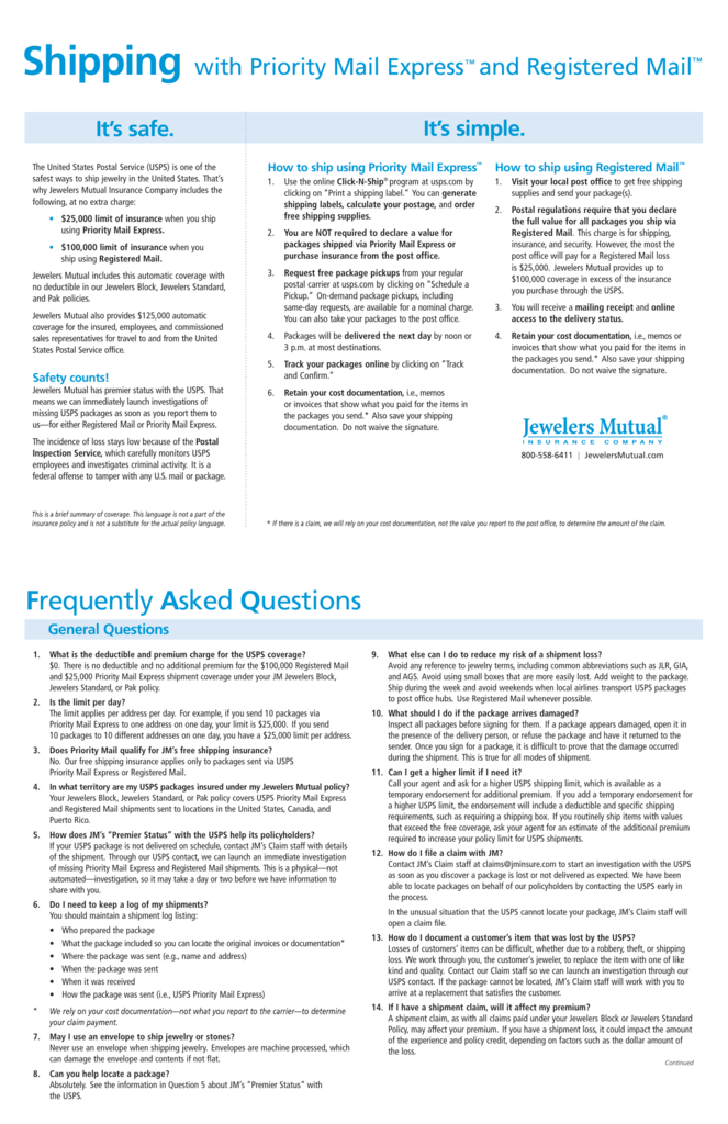express registered mail guidelines flyer