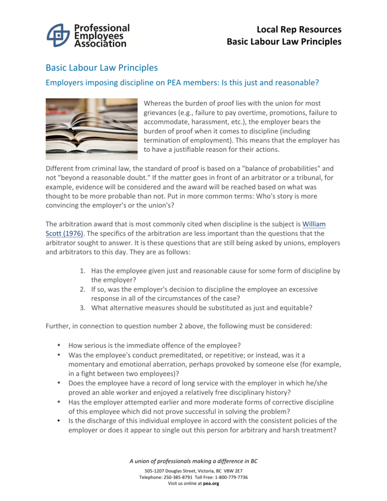 Principles of labor law - the basic ideas of the industry 90