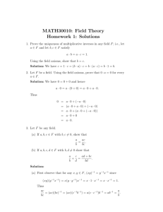 MATH30010: Field Theory Homework 1: Solutions