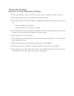 Technically Speaking Features of Good Expository Writing