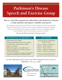 Parkinson's Disease Speech and Exercise Group