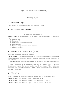 Logic and Incidence Geometry