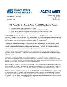 US Postal Service Reports Fiscal Year 2016 First