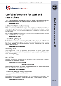Useful information for staff and researchers