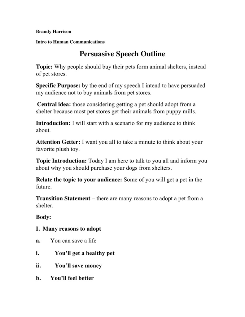 Buy a speech and outline