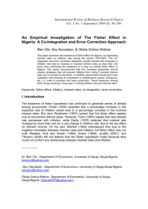 An Empirical Investigation of The Fisher Effect in Nigeria: A Co