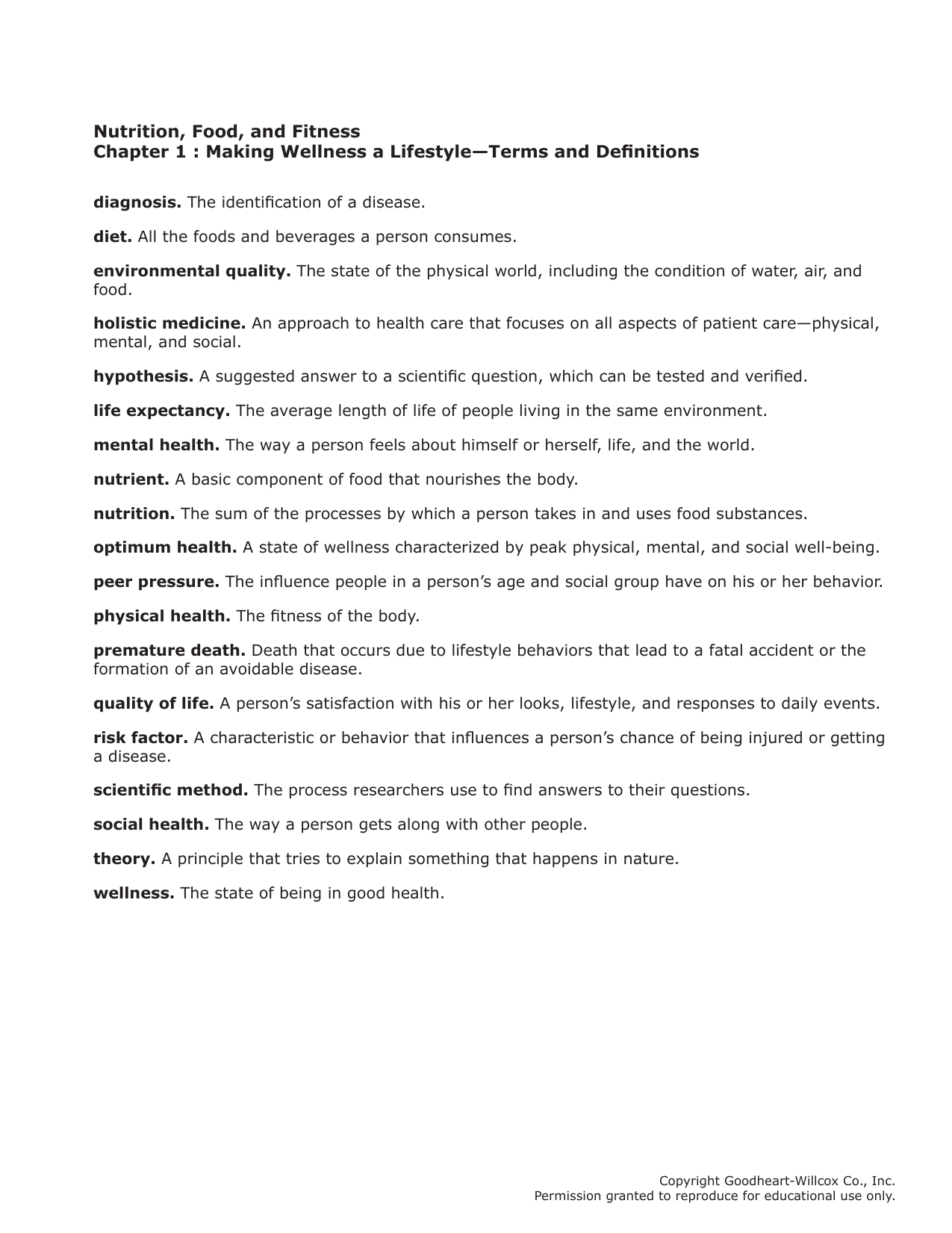 Nutrition, Food, and Fitness Chapter 1 : Making Wellness a Lifestyle