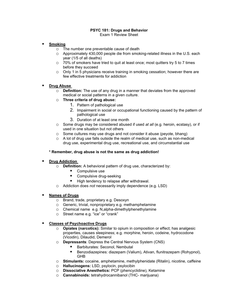 PSYC 181: Drugs and Behavior Exam 1 Review Sheet