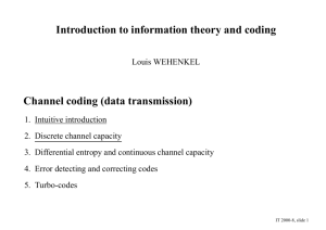 Introduction to information theory and coding Channel coding (data