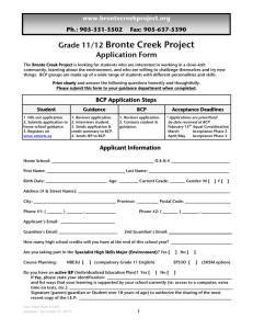 BCP Application 2014 - Bronte Creek Project