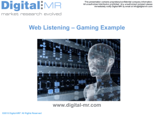 Web Listening – Gaming Example